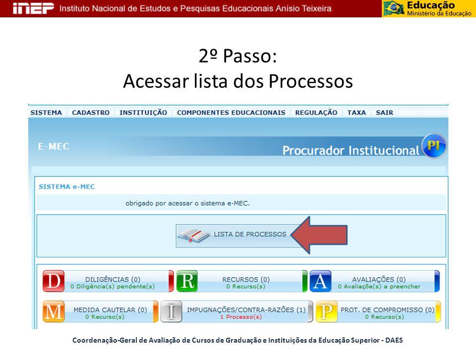 2º Passo: Acessar lista dos Processos