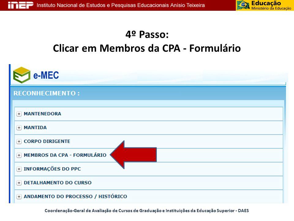 4º Passo: Clicar em Membros da CPA - Formulário