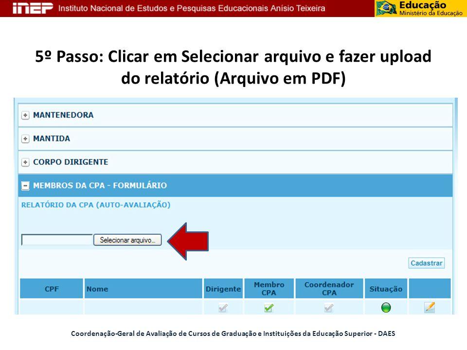 5º Passo: Clicar em Selecionar arquivo e fazer upload do relatório (Arquivo em PDF)