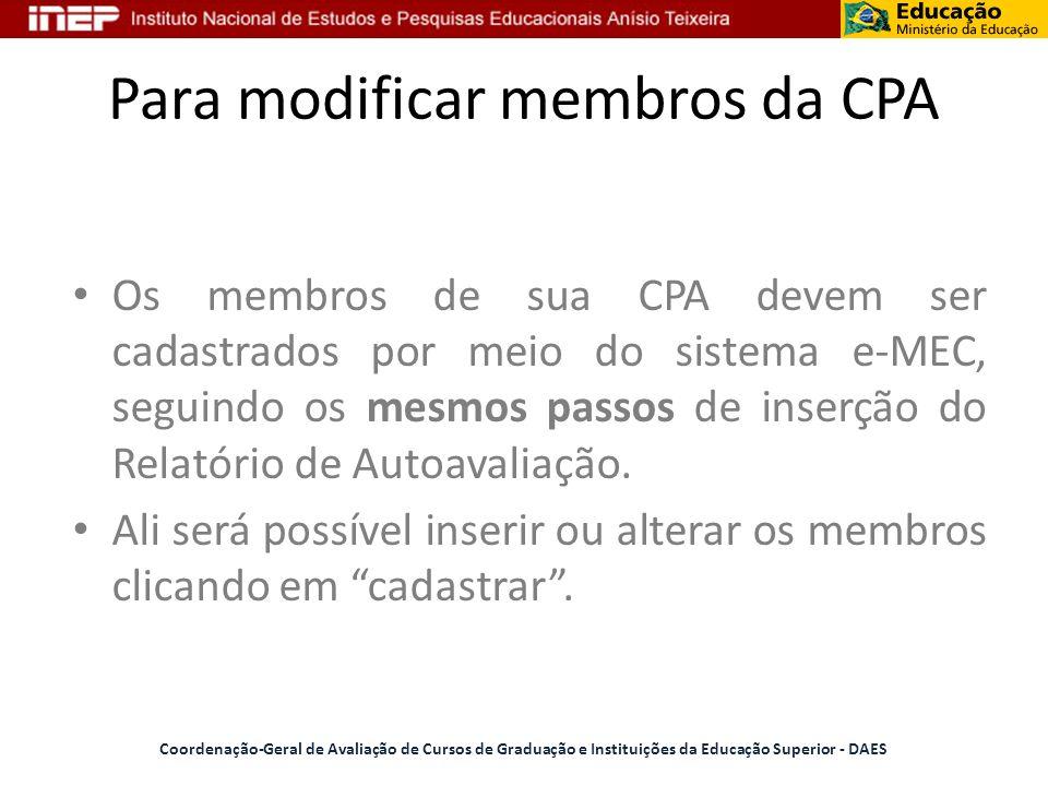 Para modificar membros da CPA