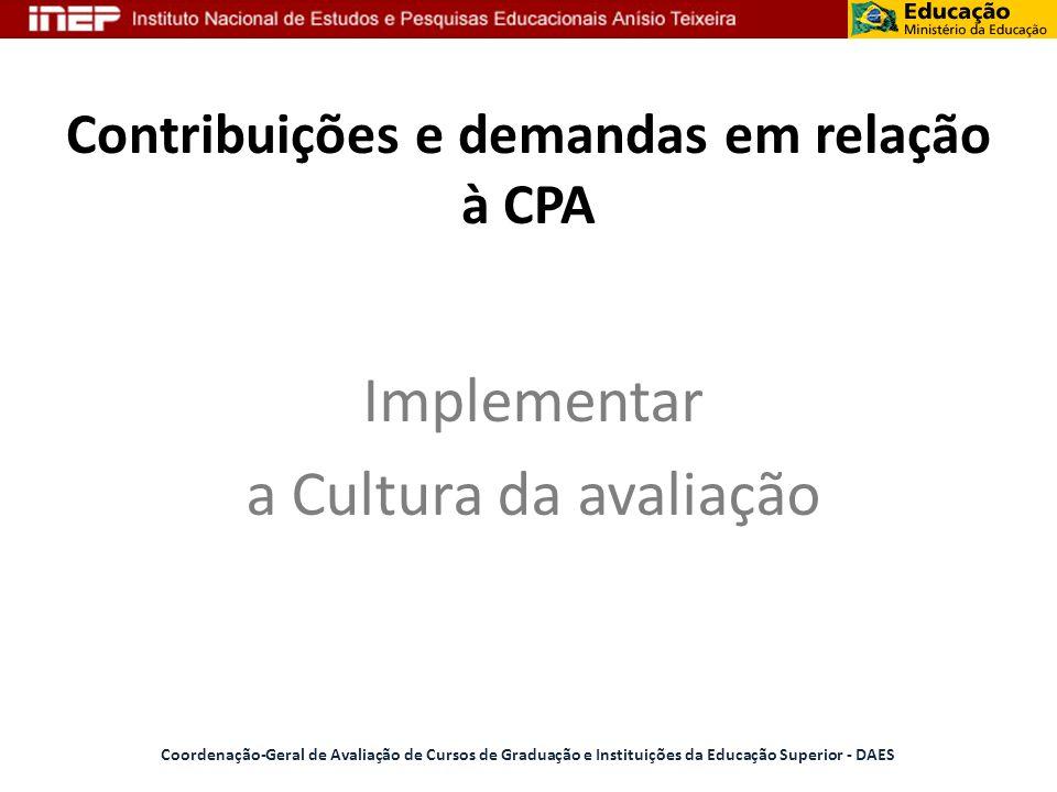 Contribuições e demandas em relação à CPA
