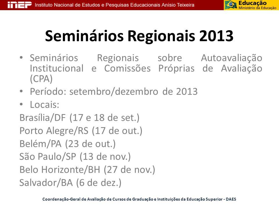 Seminários Regionais 2013 Seminários Regionais sobre Autoavaliação Institucional e Comissões Próprias de Avaliação (CPA)