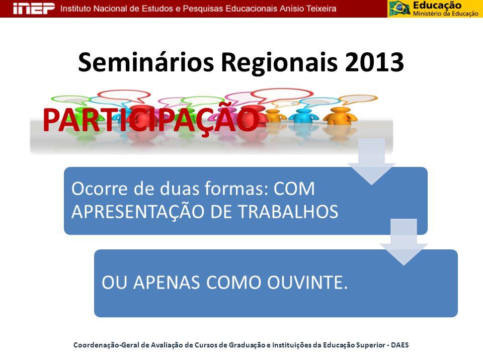 PARTICIPAÇÃO Seminários Regionais 2013
