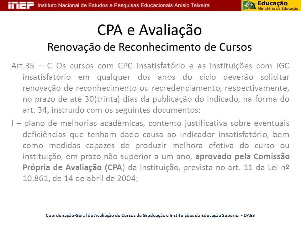 CPA e Avaliação Renovação de Reconhecimento de Cursos