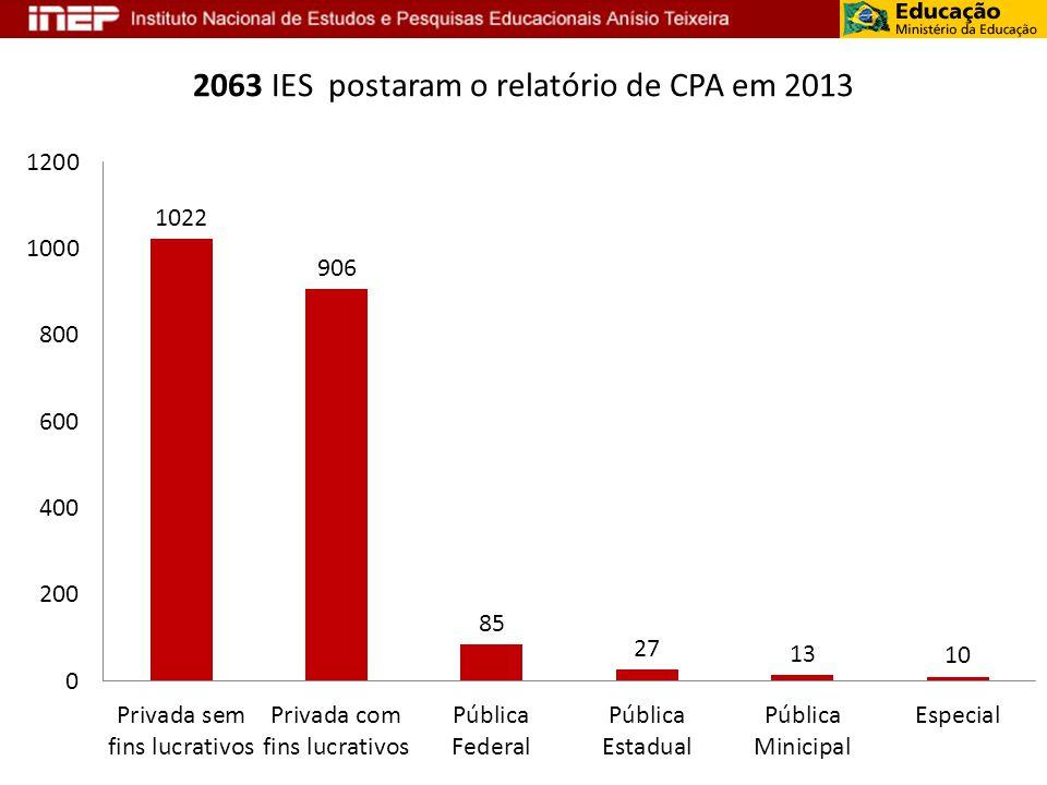 2063 IES postaram o relatório de CPA em 2013