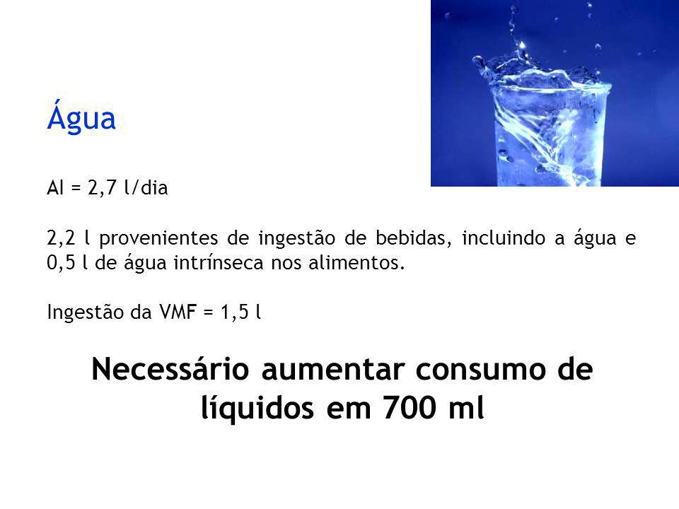 Necessário aumentar consumo de líquidos em 700 ml