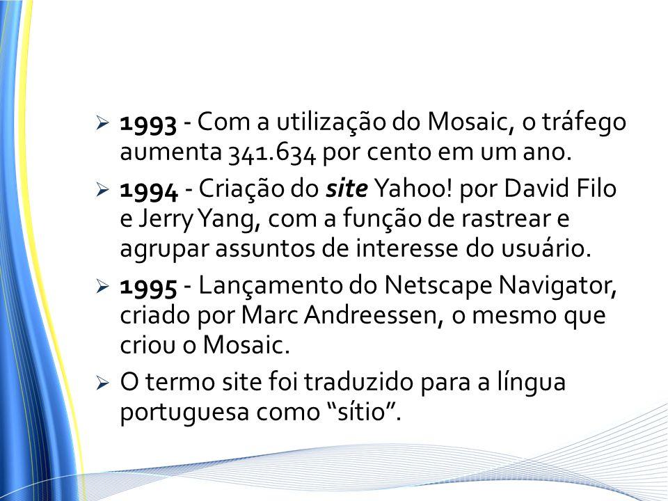 1993 - Com a utilização do Mosaic, o tráfego aumenta 341