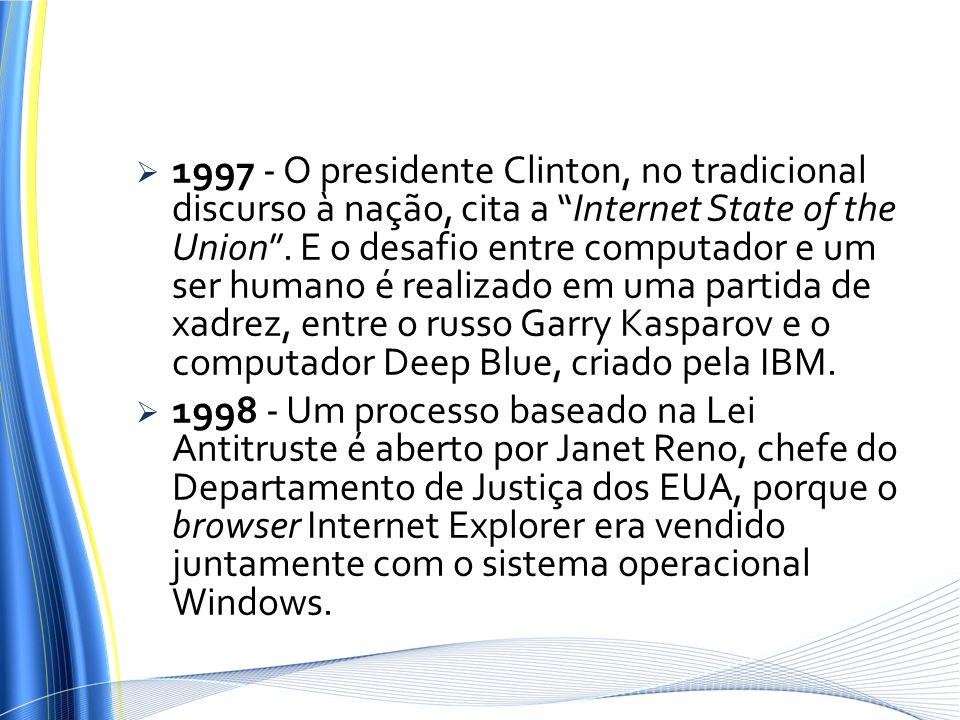 1997 - O presidente Clinton, no tradicional discurso à nação, cita a Internet State of the Union . E o desafio entre computador e um ser humano é realizado em uma partida de xadrez, entre o russo Garry Kasparov e o computador Deep Blue, criado pela IBM.