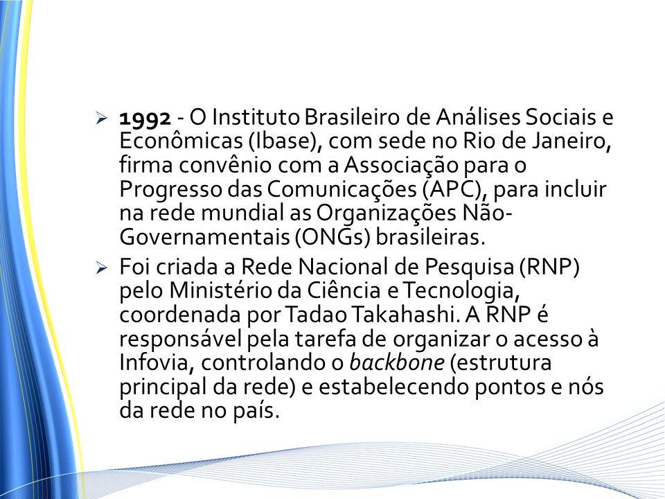1992 - O Instituto Brasileiro de Análises Sociais e Econômicas (Ibase), com sede no Rio de Janeiro, firma convênio com a Associação para o Progresso das Comunicações (APC), para incluir na rede mundial as Organizações Não-Governamentais (ONGs) brasileiras.