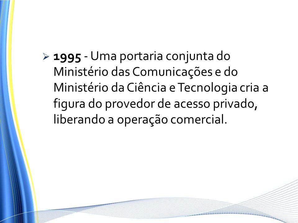 1995 - Uma portaria conjunta do Ministério das Comunicações e do Ministério da Ciência e Tecnologia cria a figura do provedor de acesso privado, liberando a operação comercial.