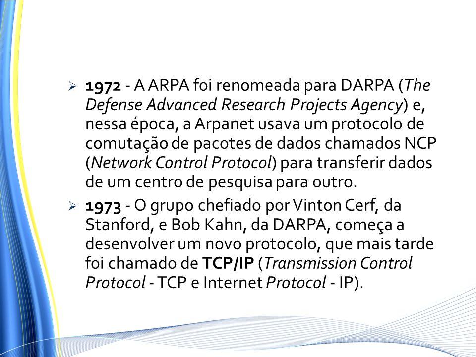 1972 - A ARPA foi renomeada para DARPA (The Defense Advanced Research Projects Agency) e, nessa época, a Arpanet usava um protocolo de comutação de pacotes de dados chamados NCP (Network Control Protocol) para transferir dados de um centro de pesquisa para outro.