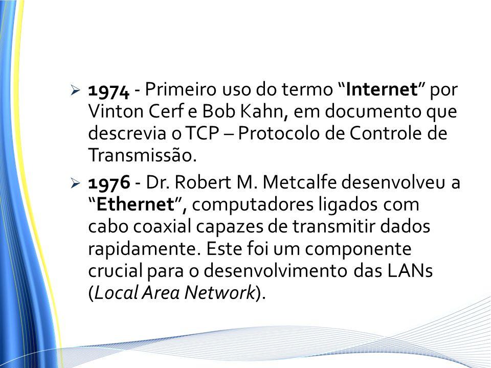 1974 - Primeiro uso do termo Internet por Vinton Cerf e Bob Kahn, em documento que descrevia o TCP – Protocolo de Controle de Transmissão.