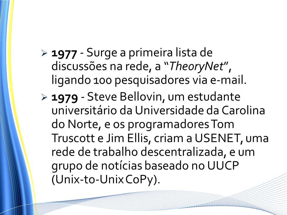 1977 - Surge a primeira lista de discussões na rede, a TheoryNet , ligando 100 pesquisadores via e-mail.