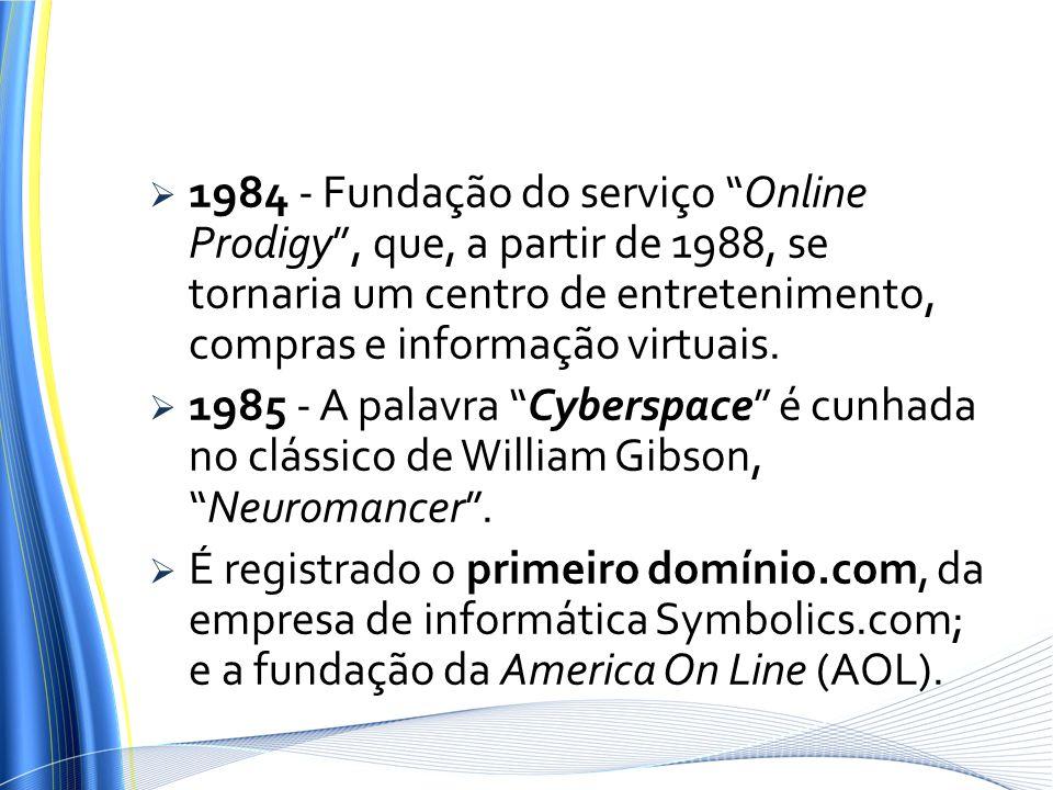 1984 - Fundação do serviço Online Prodigy , que, a partir de 1988, se tornaria um centro de entretenimento, compras e informação virtuais.