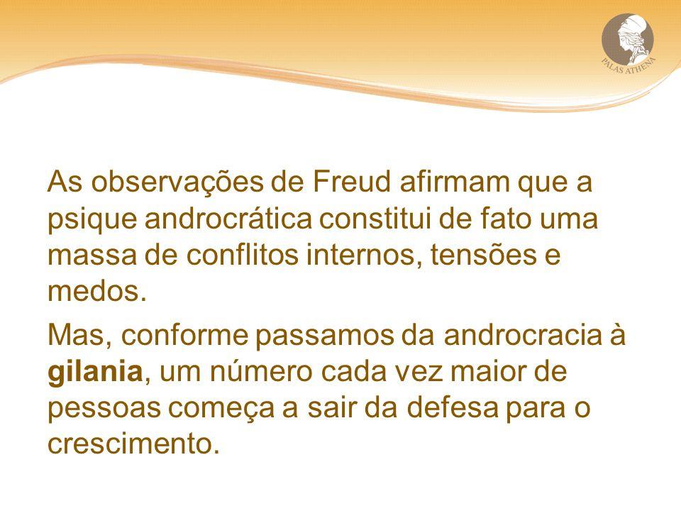 As observações de Freud afirmam que a psique androcrática constitui de fato uma massa de conflitos internos, tensões e medos.