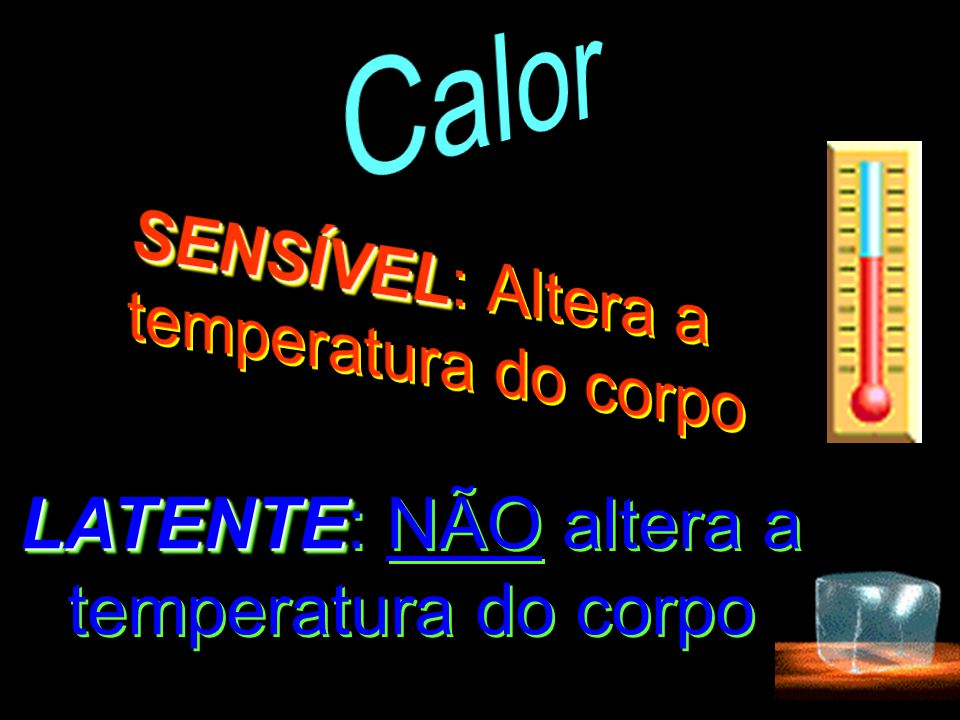 Calor SENSÍVEL: Altera a temperatura do corpo