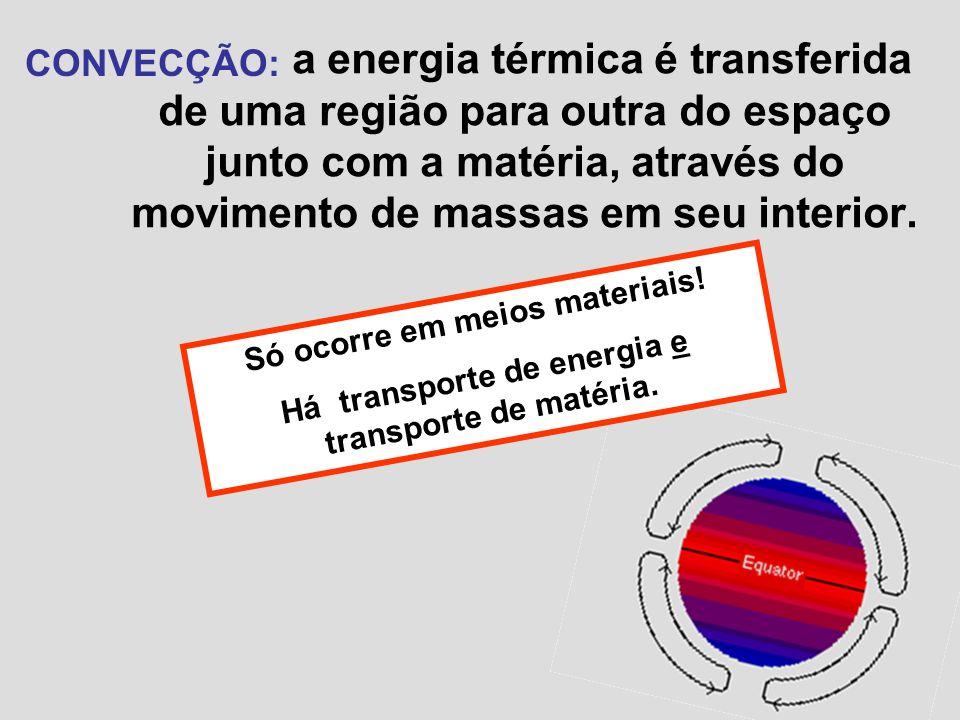 a energia térmica é transferida de uma região para outra do espaço junto com a matéria, através do movimento de massas em seu interior.