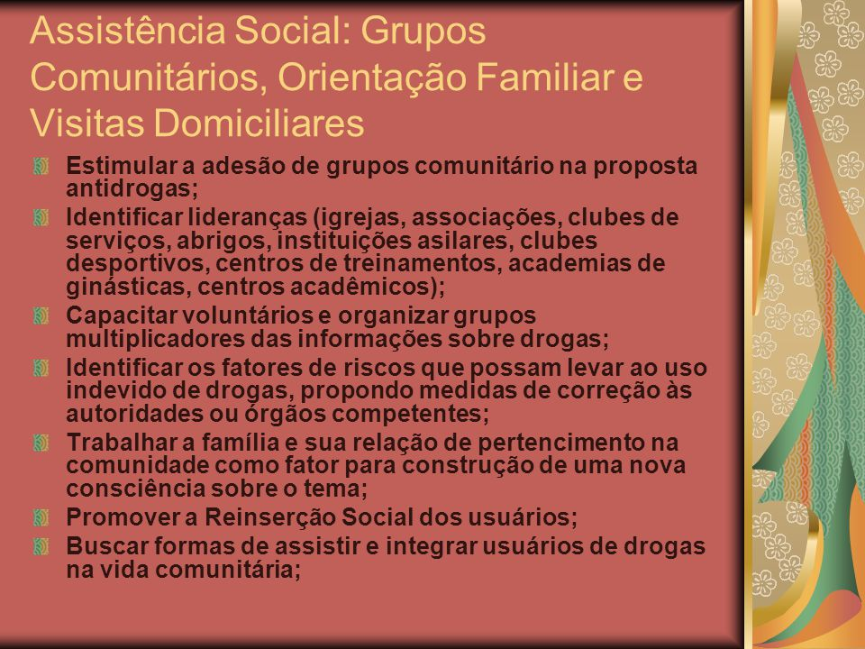 Assistência Social: Grupos Comunitários, Orientação Familiar e Visitas Domiciliares