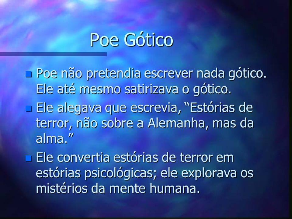 Poe Gótico Poe não pretendia escrever nada gótico. Ele até mesmo satirizava o gótico.