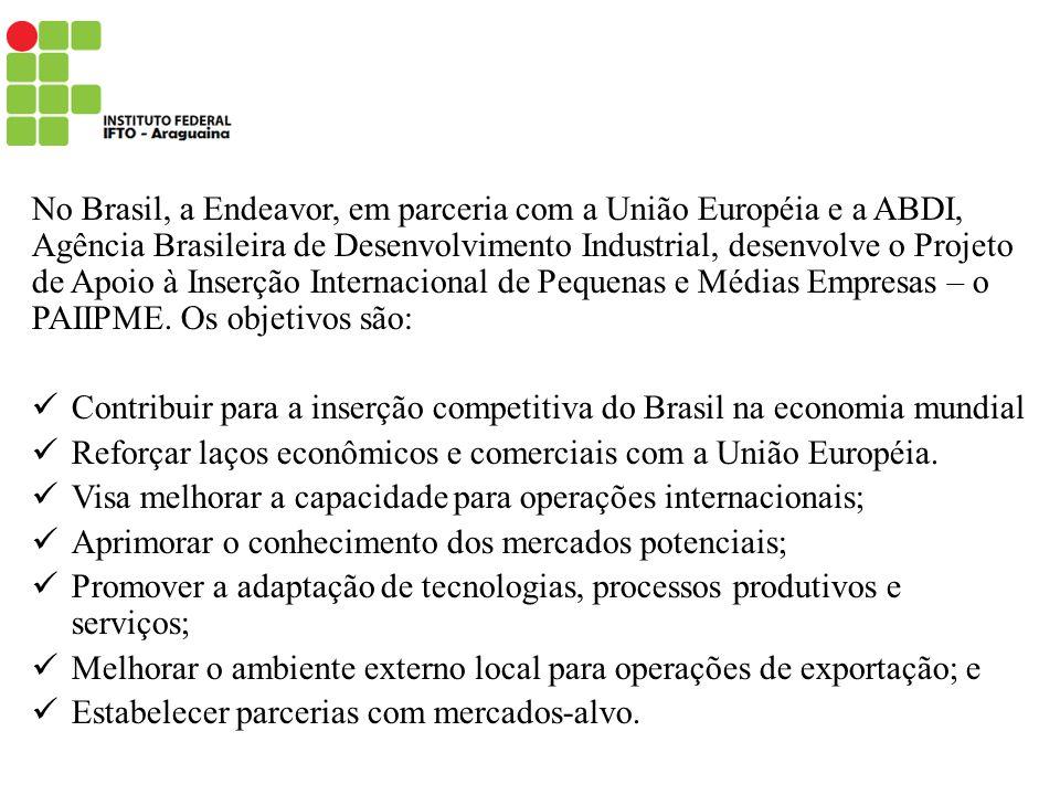 No Brasil, a Endeavor, em parceria com a União Européia e a ABDI, Agência Brasileira de Desenvolvimento Industrial, desenvolve o Projeto de Apoio à Inserção Internacional de Pequenas e Médias Empresas – o PAIIPME. Os objetivos são: