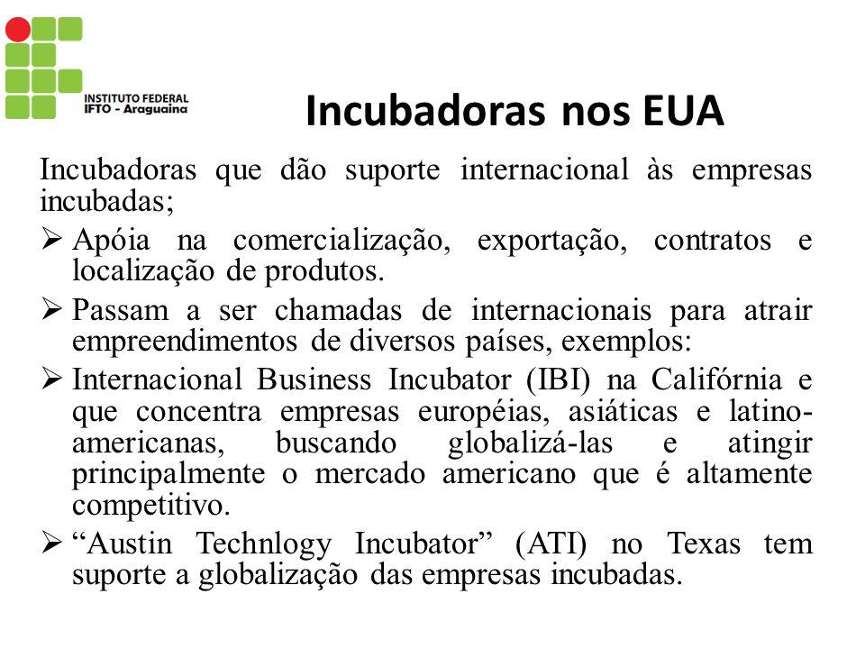 Incubadoras nos EUA Incubadoras que dão suporte internacional às empresas incubadas;