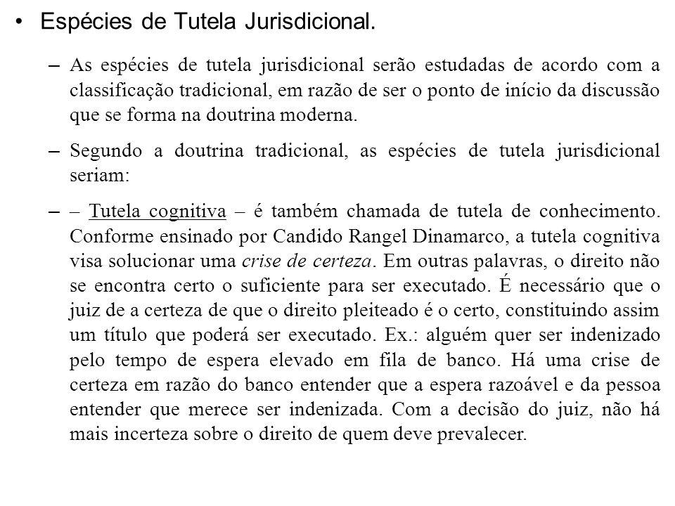 Espécies de Tutela Jurisdicional.