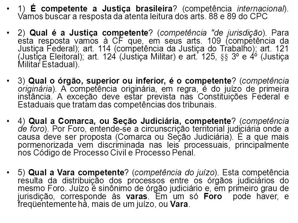 1) É competente a Justiça brasileira. (competência internacional)