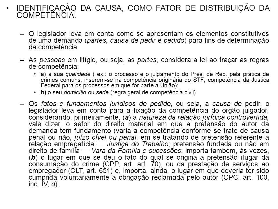 IDENTIFICAÇÃO DA CAUSA, COMO FATOR DE DISTRIBUIÇÃO DA COMPETÊNCIA: