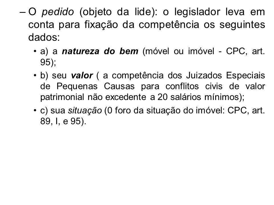 O pedido (objeto da lide): o legislador leva em conta para fixação da competência os seguintes dados: