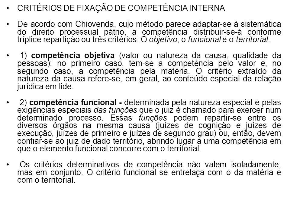 CRITÉRIOS DE FIXAÇÃO DE COMPETÊNCIA INTERNA