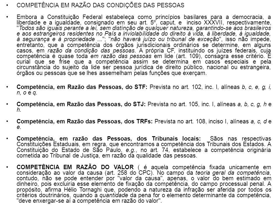 COMPETÊNCIA EM RAZÃO DAS CONDIÇÕES DAS PESSOAS