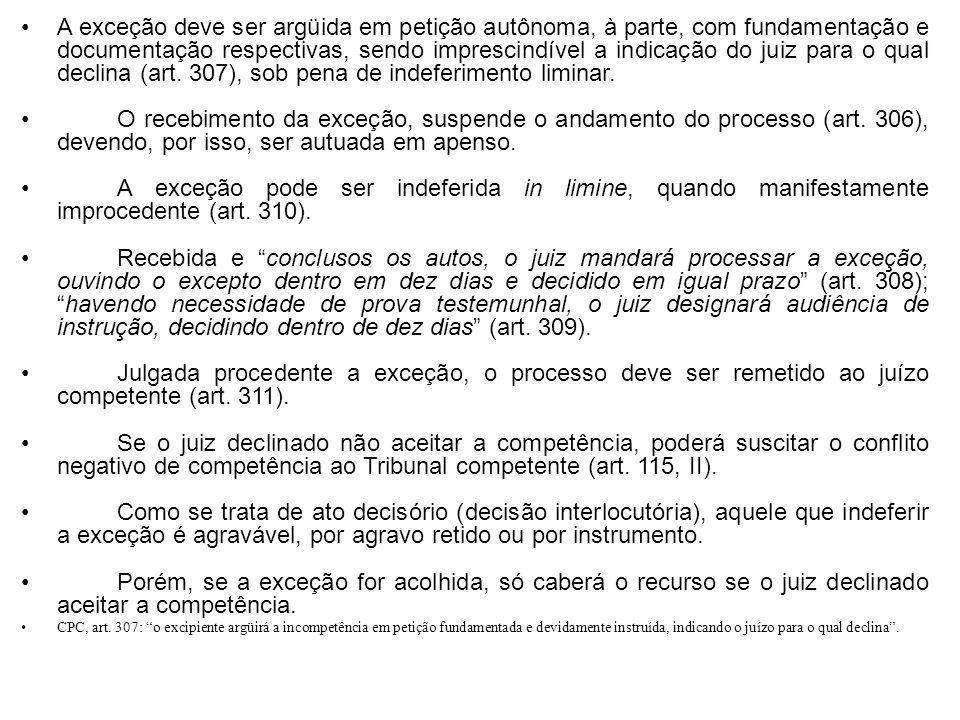 A exceção deve ser argüida em petição autônoma, à parte, com fundamentação e documentação respectivas, sendo imprescindível a indicação do juiz para o qual declina (art. 307), sob pena de indeferimento liminar.