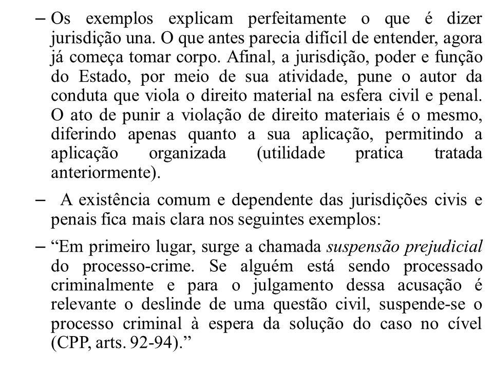 Os exemplos explicam perfeitamente o que é dizer jurisdição una