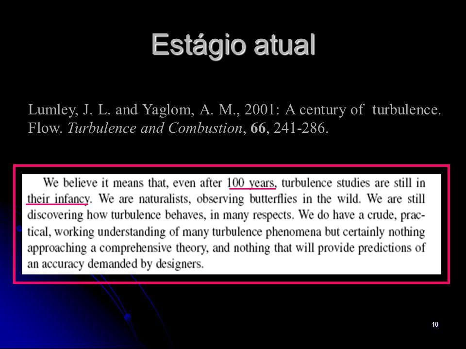 Estágio atual Lumley, J. L. and Yaglom, A. M., 2001: A century of turbulence.