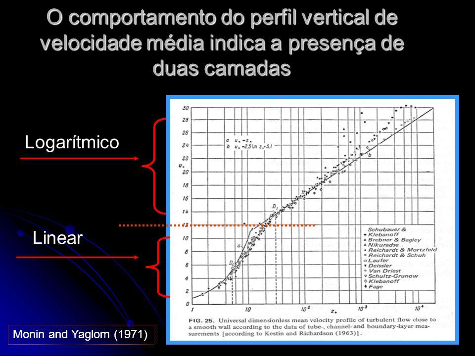 O comportamento do perfil vertical de velocidade média indica a presença de duas camadas