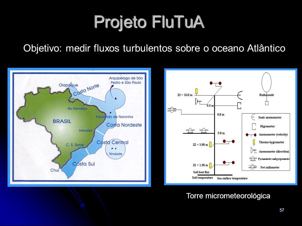 Projeto FluTuA Objetivo: medir fluxos turbulentos sobre o oceano Atlântico Torre micrometeorológica