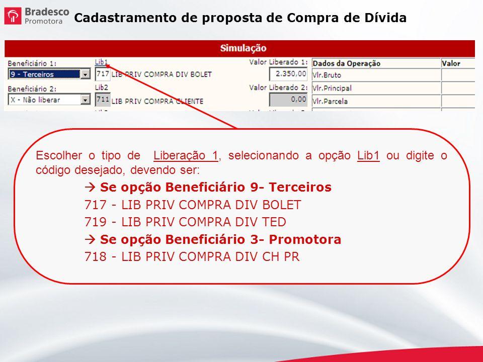 Cadastramento de proposta de Compra de Dívida