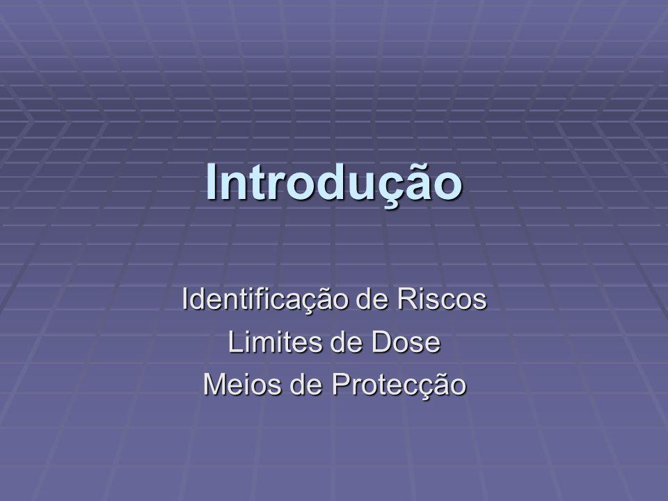 Identificação de Riscos Limites de Dose Meios de Protecção