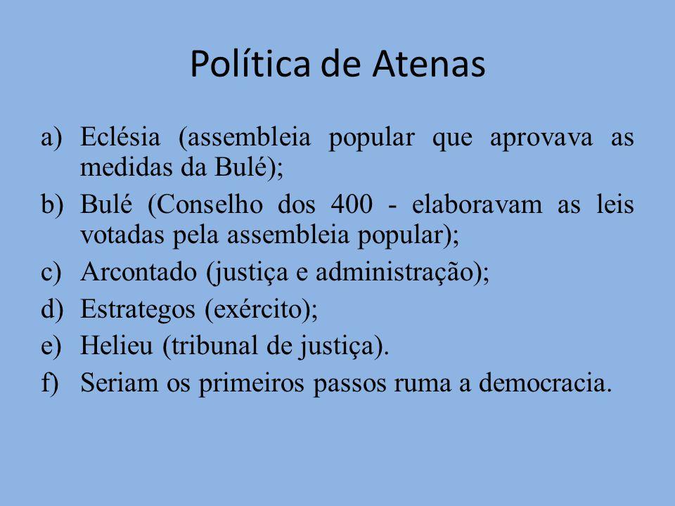 Política de Atenas Eclésia (assembleia popular que aprovava as medidas da Bulé);