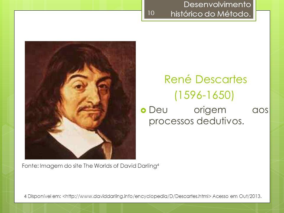 René Descartes (1596-1650) Deu origem aos processos dedutivos.