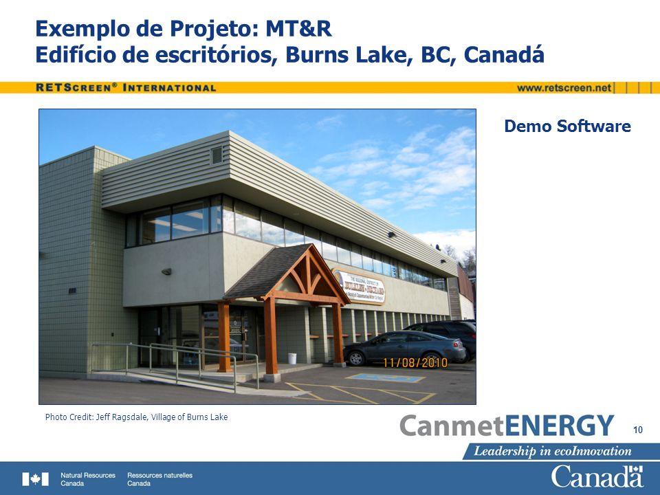 Exemplo de Projeto: MT&R Edifício de escritórios, Burns Lake, BC, Canadá