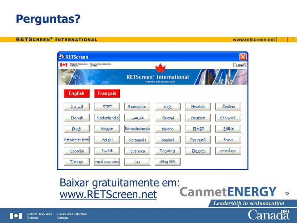 Perguntas Baixar gratuitamente em: www.RETScreen.net