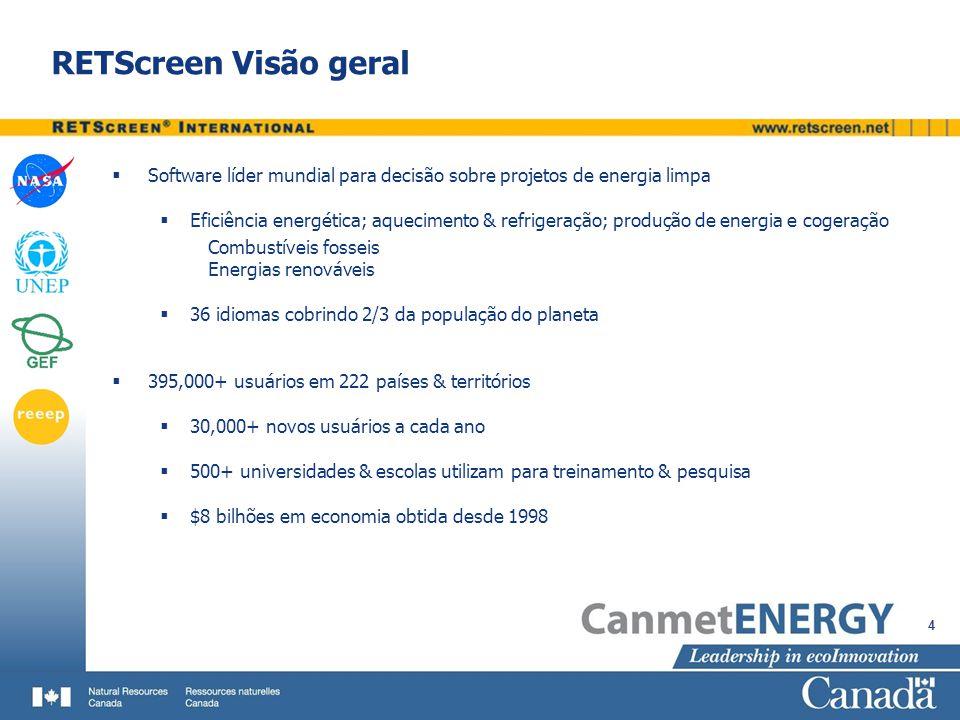 RETScreen Visão geral Software líder mundial para decisão sobre projetos de energia limpa.