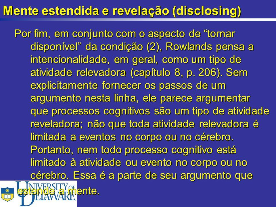 Mente estendida e revelação (disclosing)