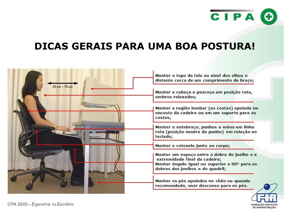 DICAS GERAIS PARA UMA BOA POSTURA!
