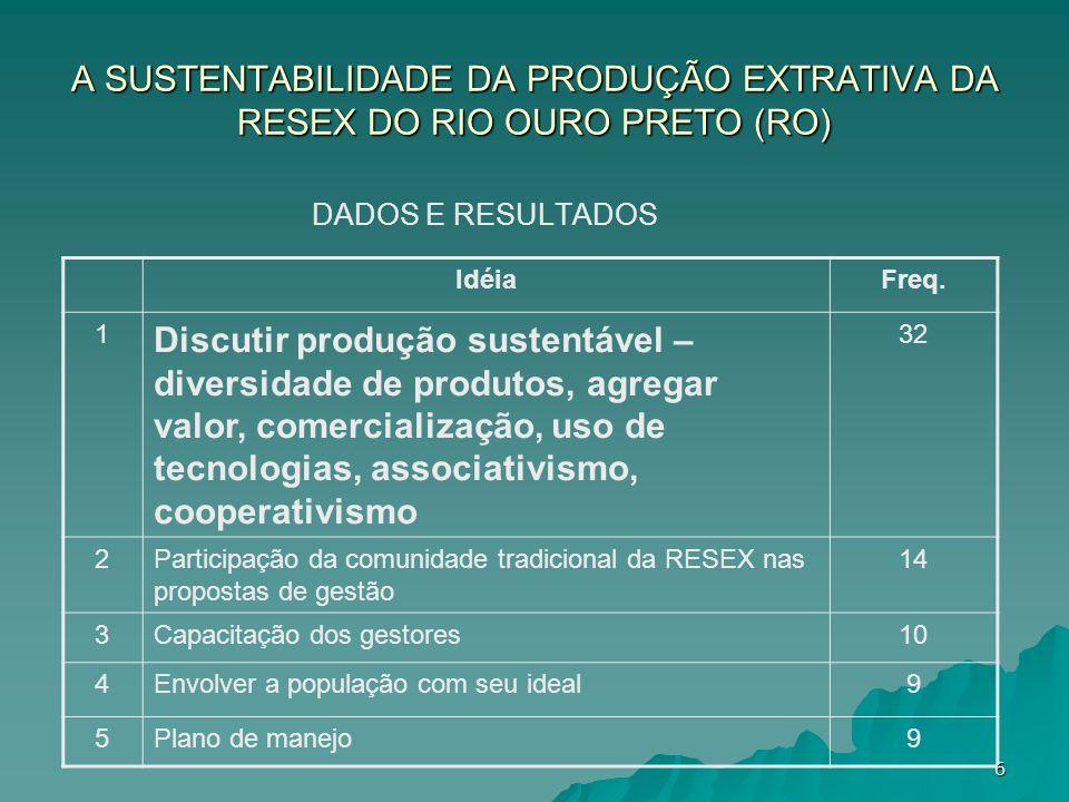 A SUSTENTABILIDADE DA PRODUÇÃO EXTRATIVA DA RESEX DO RIO OURO PRETO (RO)