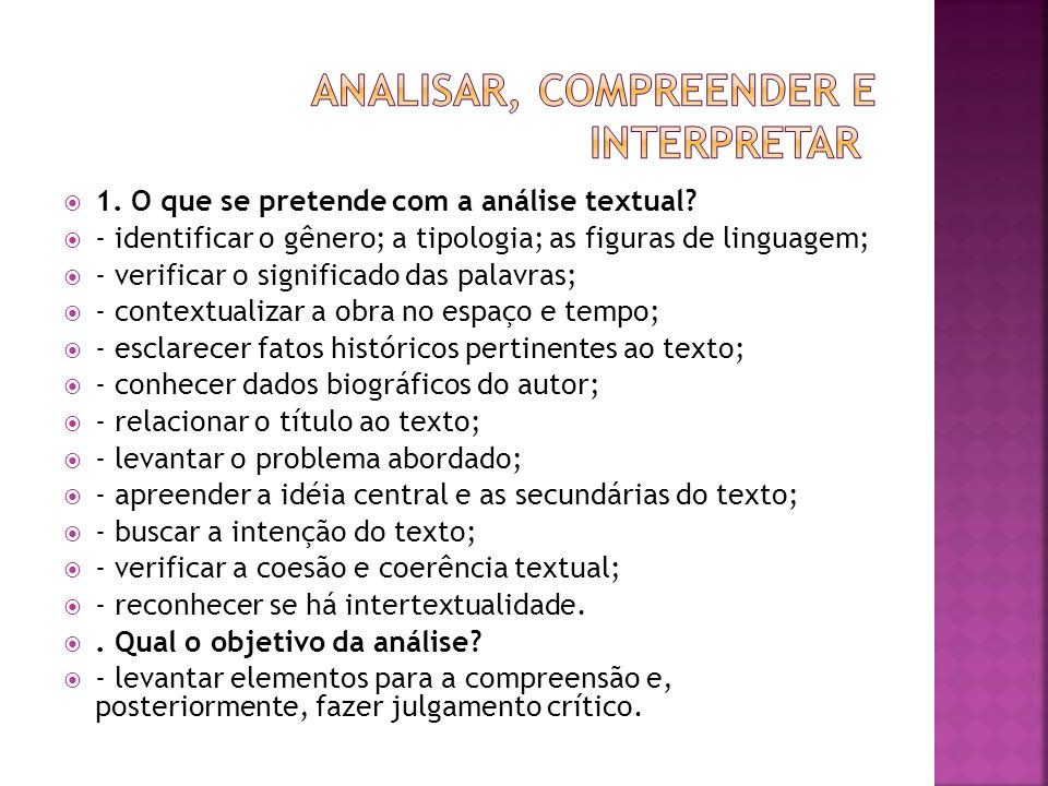 analisar, compreender e interpretar