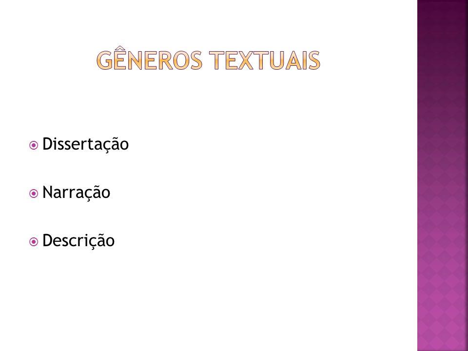 Gêneros textuais Dissertação Narração Descrição