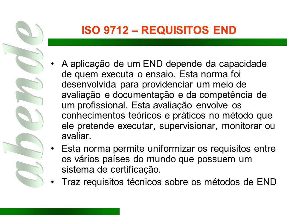 ISO 9712 – REQUISITOS END