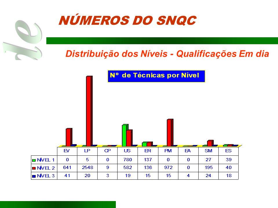 NÚMEROS DO SNQC Distribuição dos Níveis - Qualificações Em dia